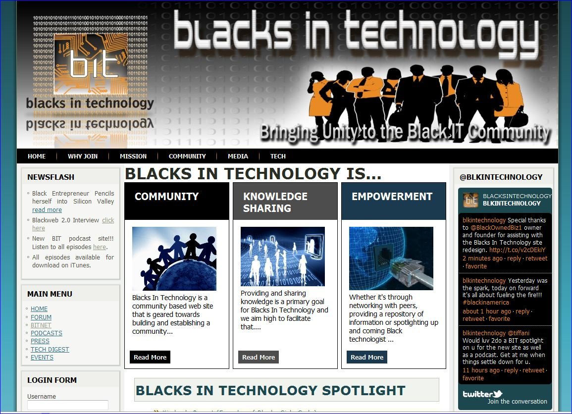 Blacks in Technology website design