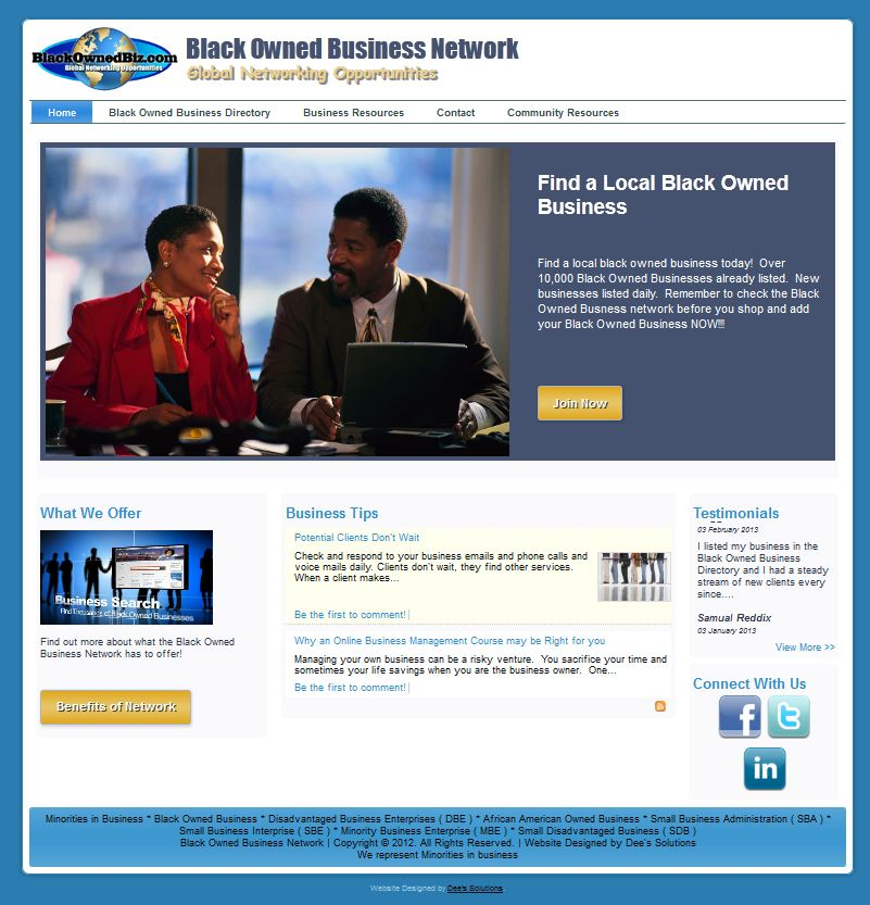 Black Owned Biz website design