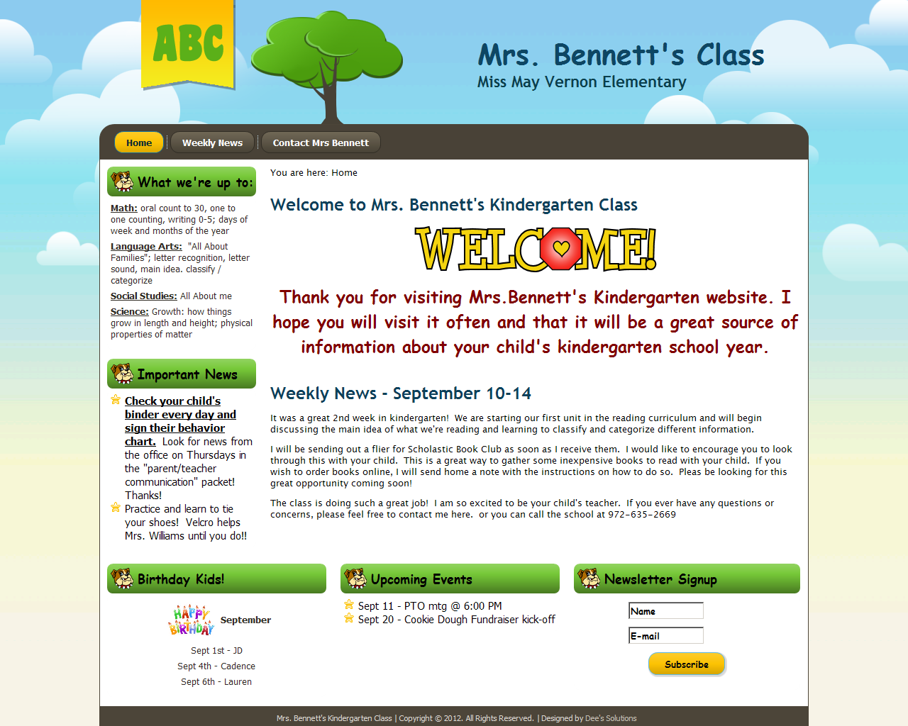 Kindergarten Classroom Website