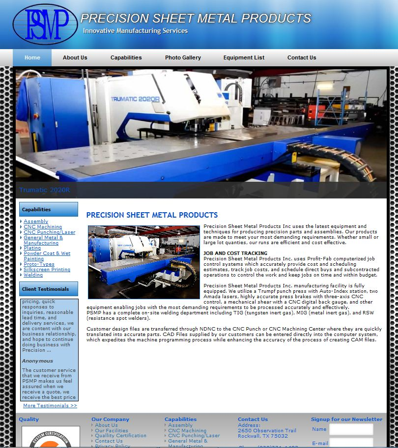 Rockwall Web Design- Precision Sheet Metal Products