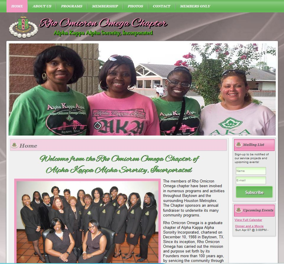 Sorority Website Design